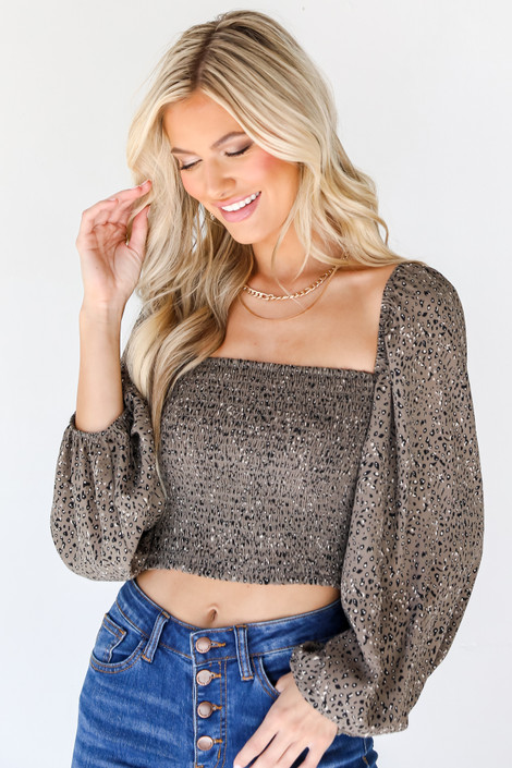 Olive - Smocked Leopard Crop Top from Dress Up
