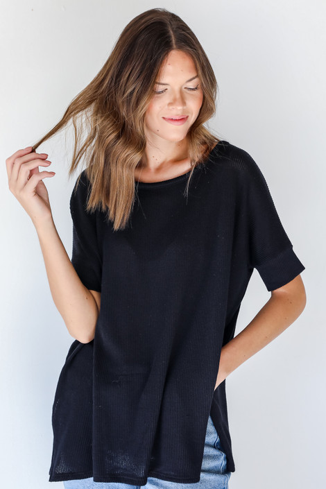 Black - Ribbed Top from Dress Up
