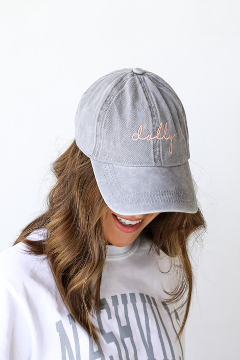 Grey - Dolly Script Embroidered Hat
