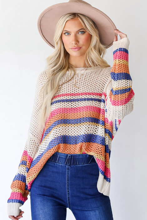 Ivory - Striped Loose Knit Sweater