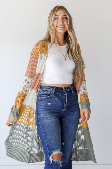 Sage - Striped Loose Knit Cardigan from Dress Up