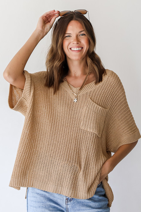 Taupe - Loose Knit Sweater