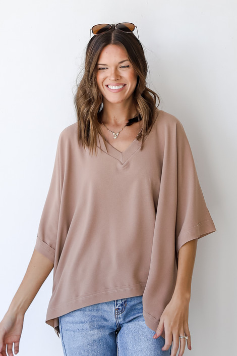 Taupe - Oversized Blouse