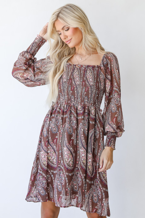 Taupe - Smocked Paisley Dress from Dress Up