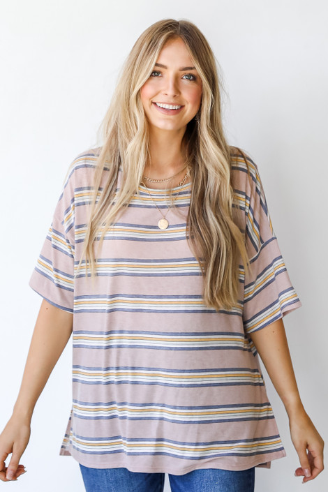 Taupe - Oversized Striped Tee
