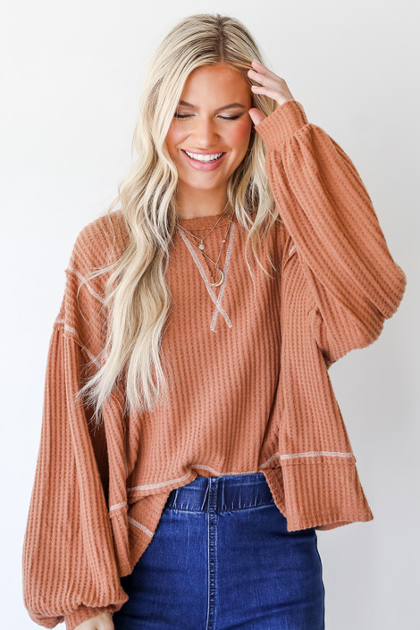 Rust - Waffle Knit Top from Dress Up
