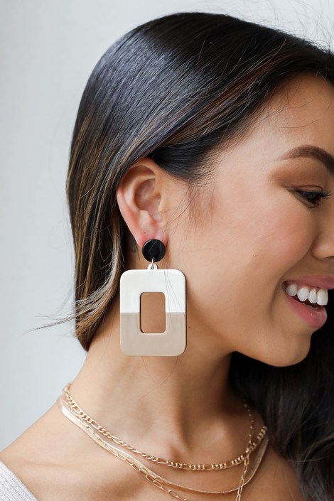Natural - Acrylic Statement Drop Earrings