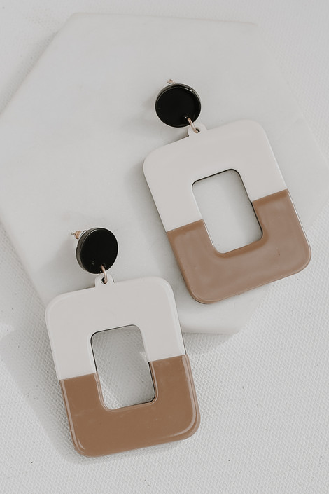 Natural - Acrylic Statement Drop Earrings from Dress Up