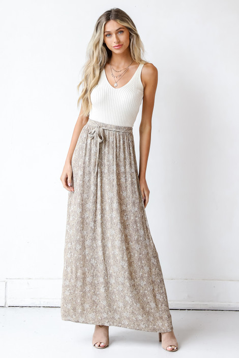 Taupe - Floral Maxi Skirt