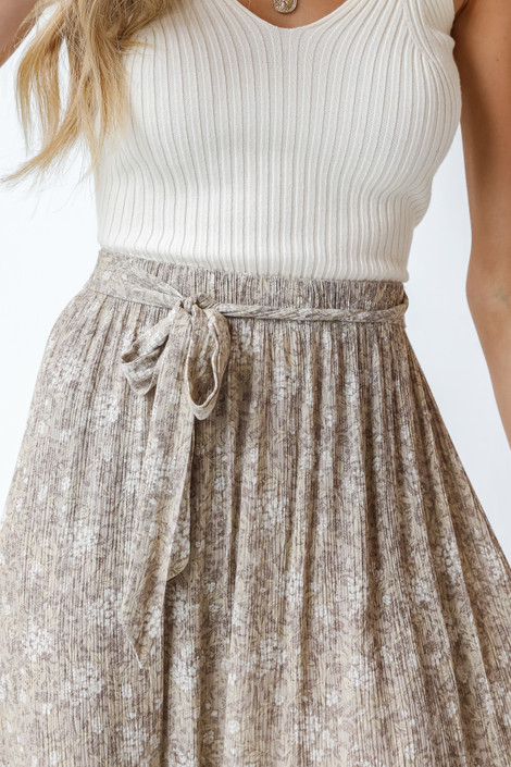 Taupe - Floral Maxi Skirt from Dress Up