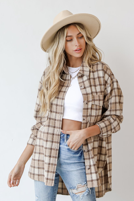 Taupe - Plaid Shacket from Dress Up
