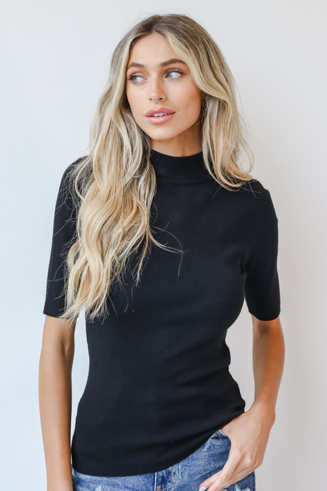Black - Mock Neck Sweater Top from Dress Up