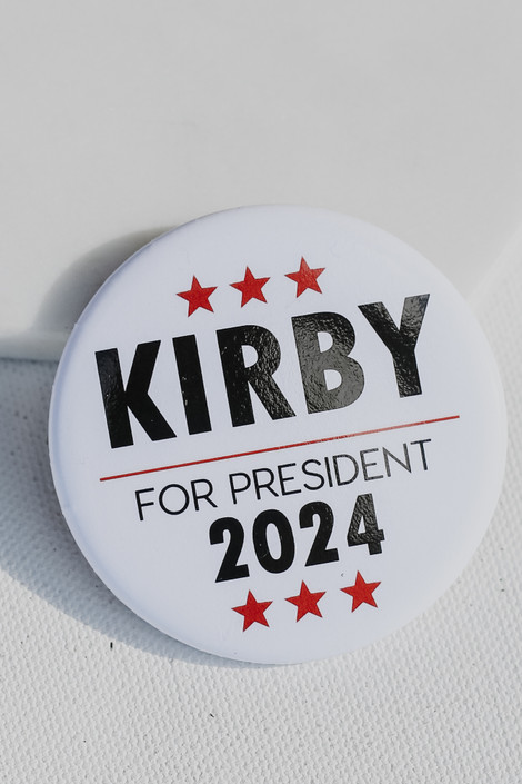 White - Kirby For President Button from Dress Up