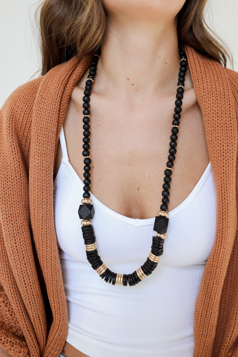 Black - Beaded Necklace