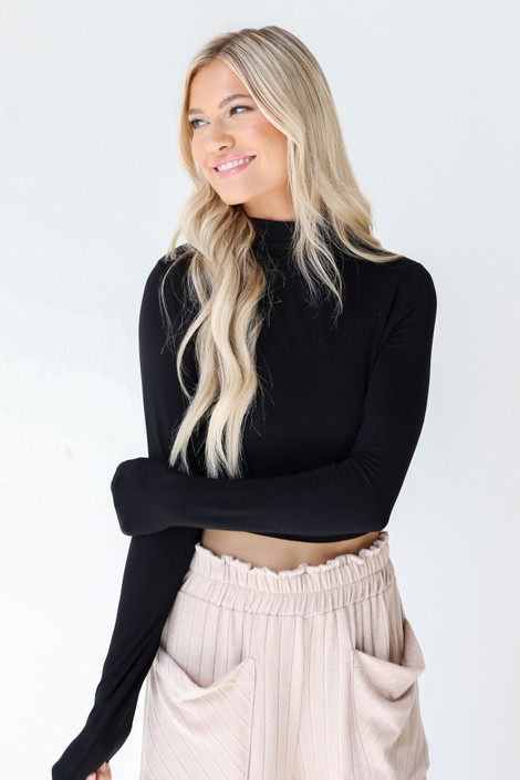 Black - Everyday Mock Neck Crop Top from Dress Up