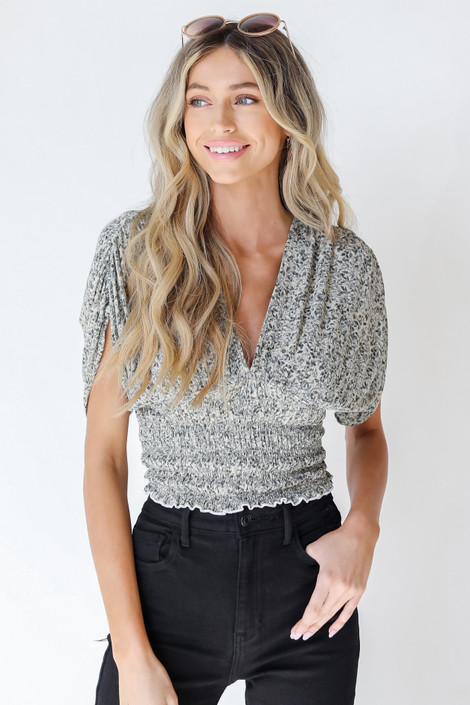 Olive - Floral Cropped Blouse from Dress Up