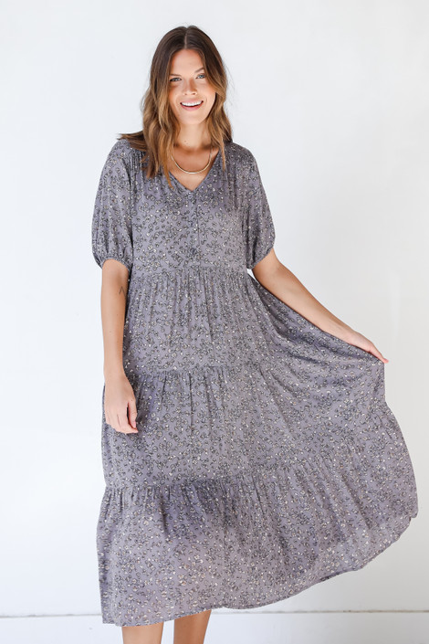 Grey - Floral Maxi Dress from Dress Up
