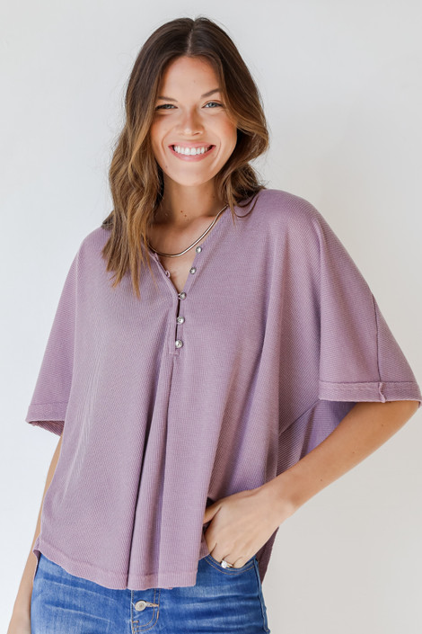 Lavender - Waffle Knit Top
