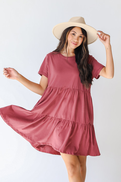 Marsala - Tiered Babydoll Dress from Dress Up