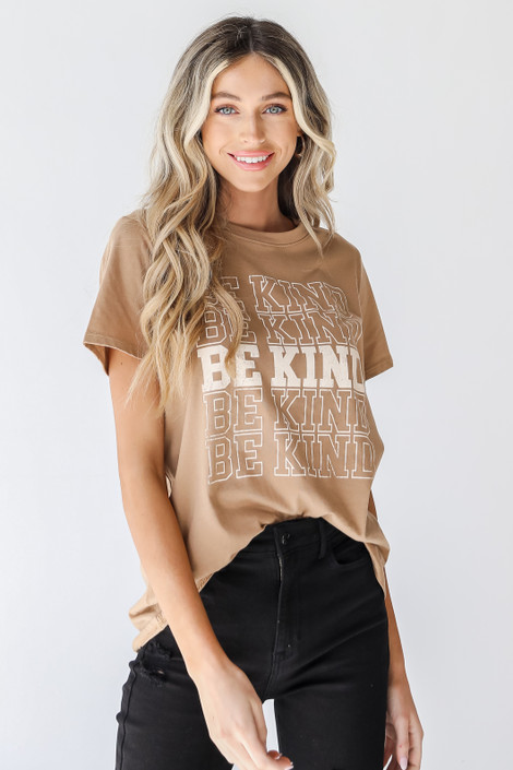 Khaki - Be Kind Graphic Tee from Dress Up