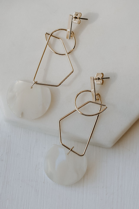White - Statement Drop Earrings from Dress Up