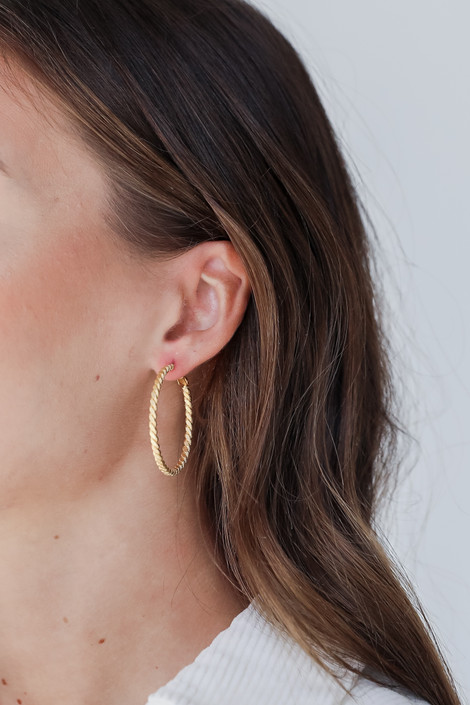 Gold - Twisted Small Hoop Earrings