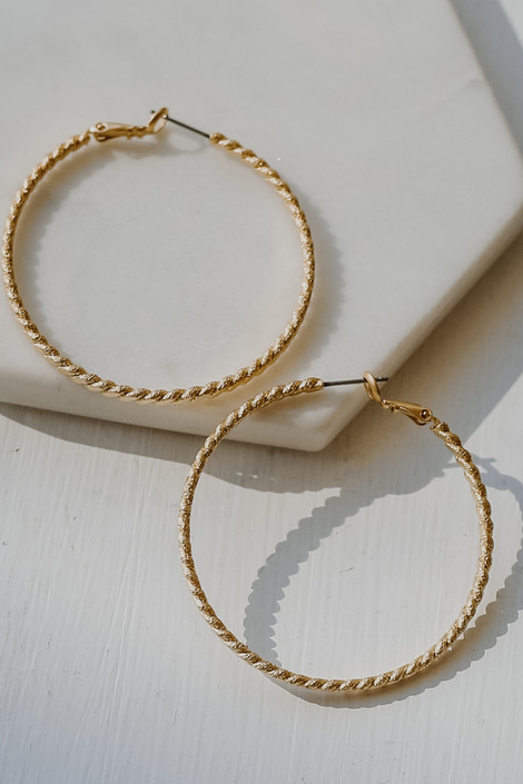 Gold - Twisted Medium Hoop Earrings from Dress Up