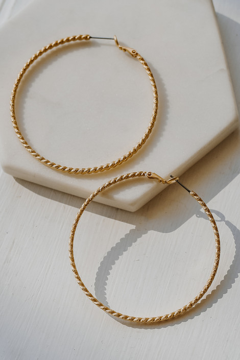 Gold - Twisted Large Hoop Earrings from Dress Up