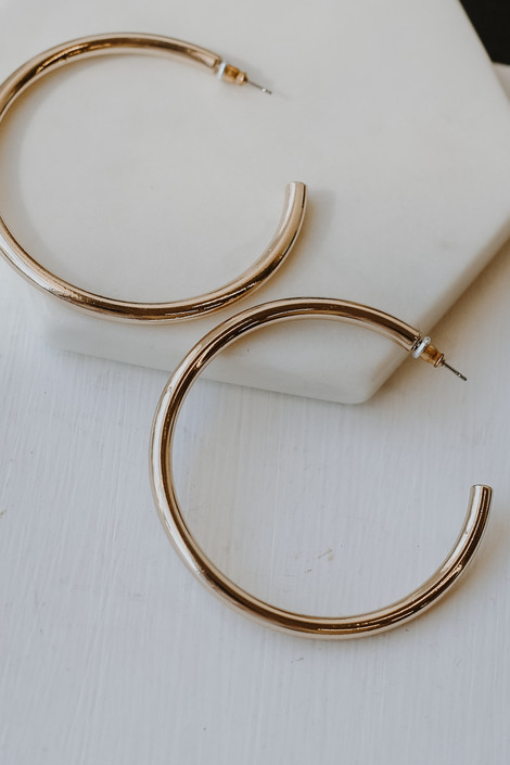 Gold - Shiny Hoop Earrings from Dress Up