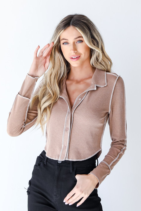 Mocha - Exposed Seam Top from Dress Up