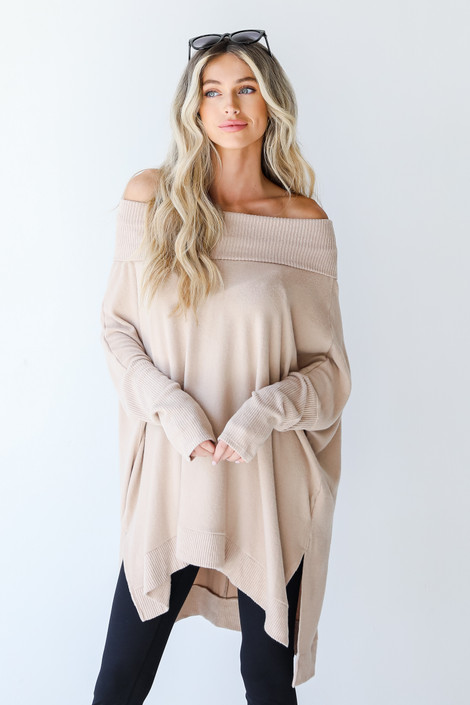 Taupe - Brushed Knit Tunic from Dress Up