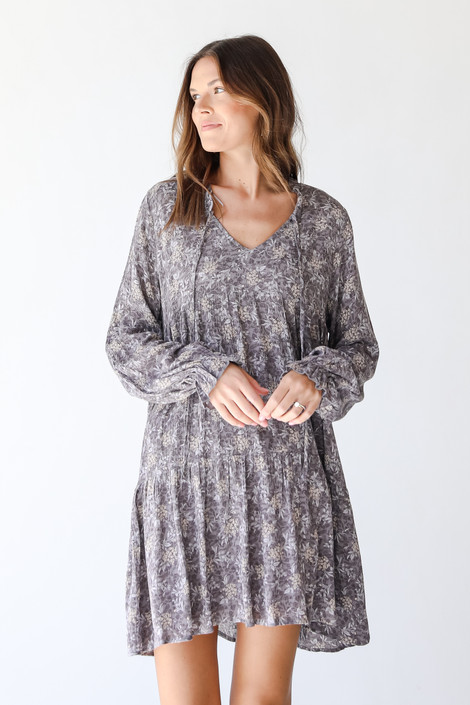 Grey - Floral Mini Dress from Dress Up
