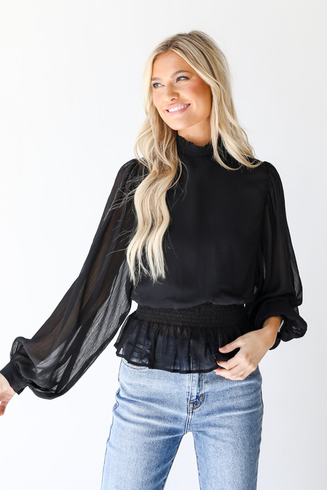 Black - Smocked Blouse from Dress Up