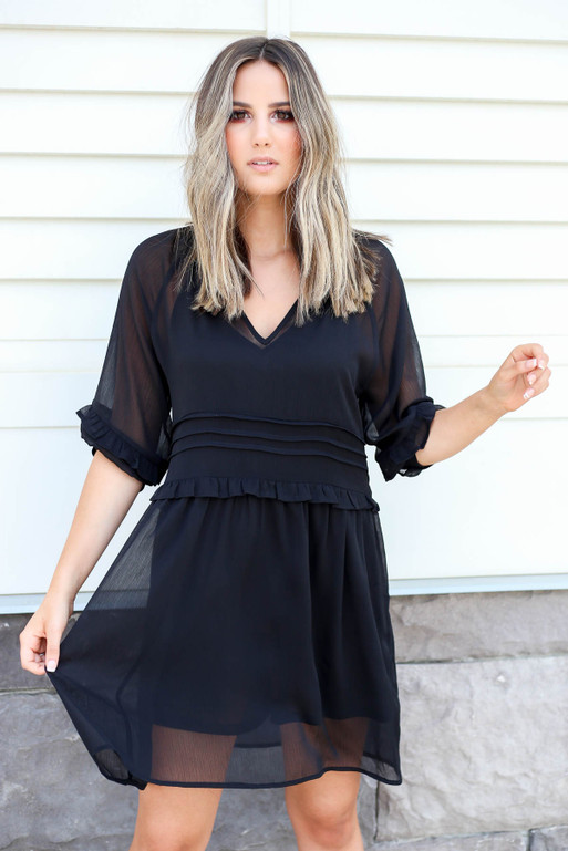 Black - Sheer Ruffle Mini Dress