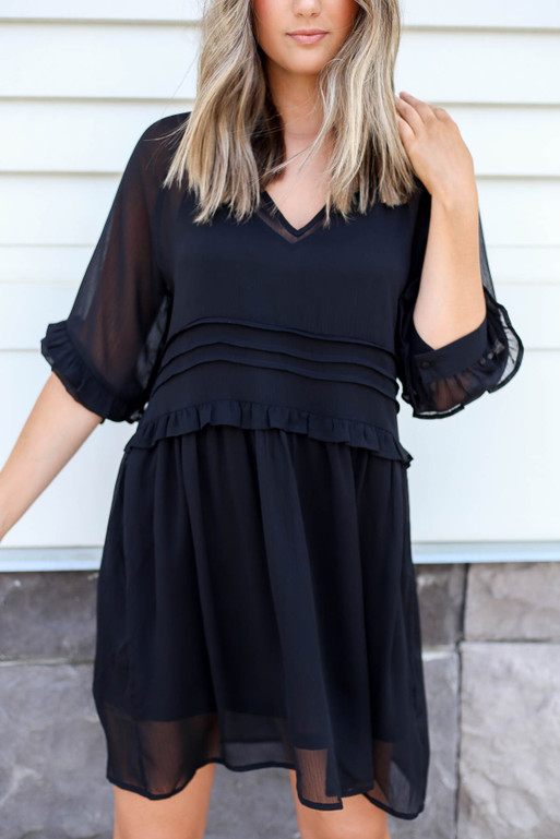 Black - Sheer Ruffle Mini Dress Detail View