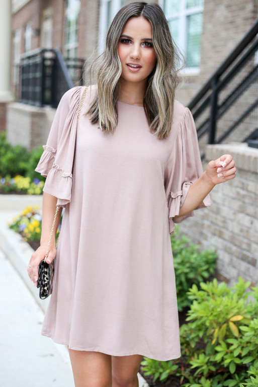 Taupe - Ruffle Sleeve Mini Dress