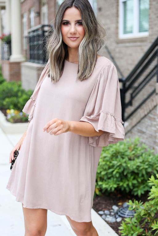 Taupe - Flowy Ruffle Sleeve Mini Dress