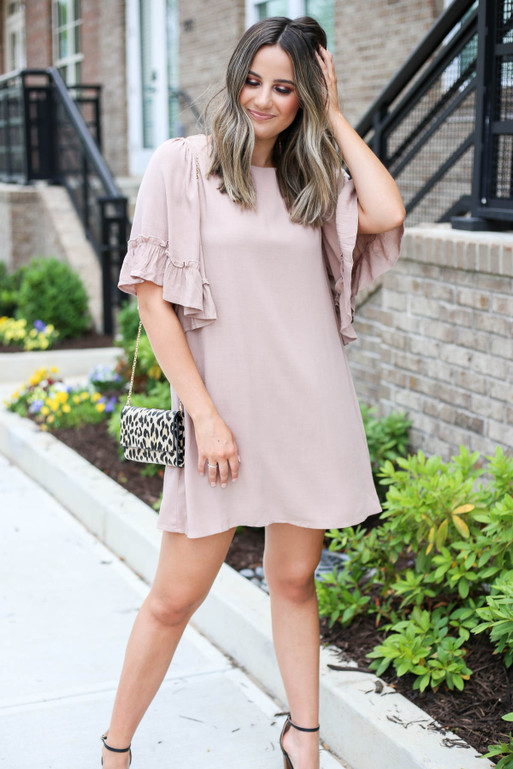 Model wearing Taupe Flowy Ruffle Sleeve Dress Full View