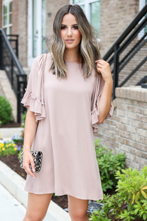 Model wearing Taupe Flowy Ruffle Sleeve Dress Front View