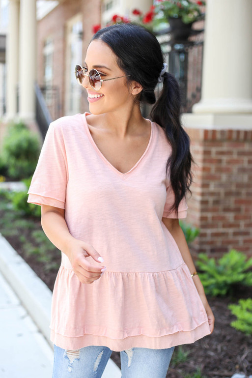 Blush - V-Neck Peplum Top