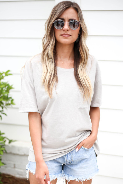 Grey - Embellished Pocket Tee