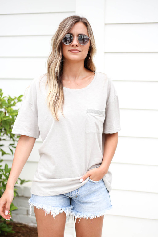 Model wearing a Grey Embellished Pocket Tee Front View