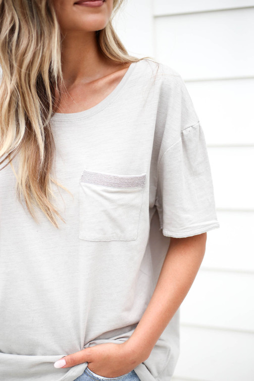 Grey - Embellished Pocket Tee Detail View