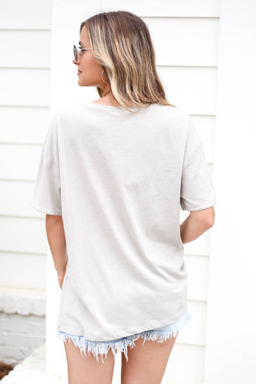 Model wearing a Grey Embellished Pocket Tee Back View