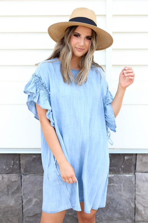 Denim - Ruffle Sleeve Chambray Dress