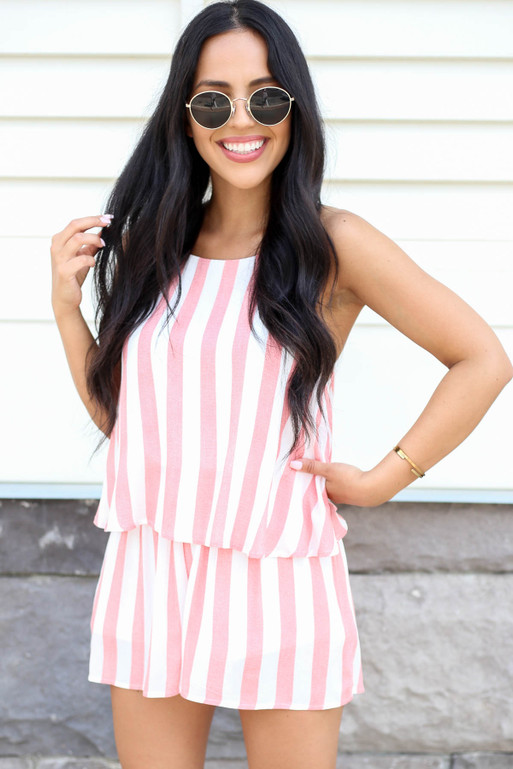 Model wearing Rust and White Striped Romper Front View