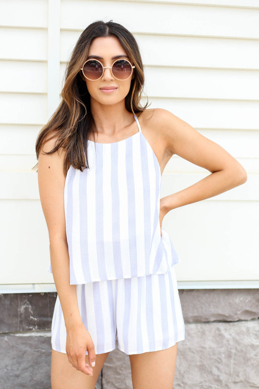 Navy - Striped Romper