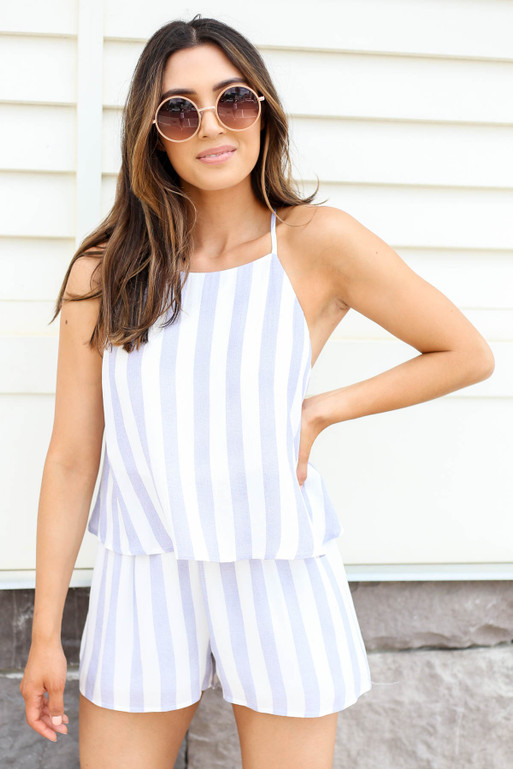Model wearing Navy and White Striped Romper Front View