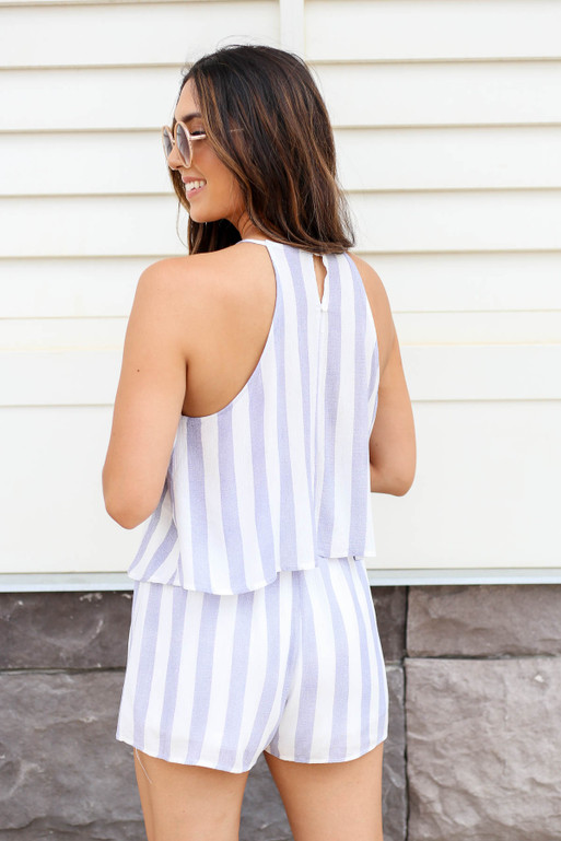 Navy - Striped Romper Back View