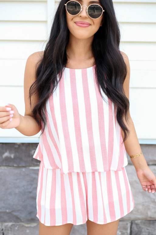 Model wearing Rust and White Striped Romper Detail View